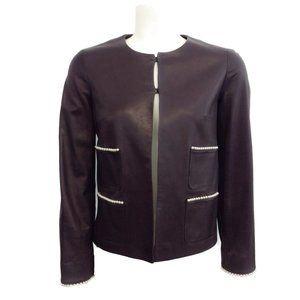 Chanel Brown Leather Pearl Embellished Jacket